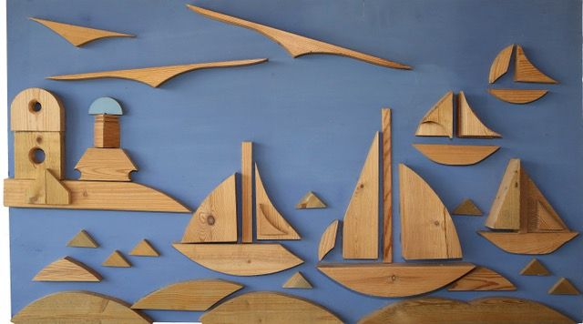 Porthleven Regatta  ________________________________ wood collage  (61cm x 121cm)           NFS