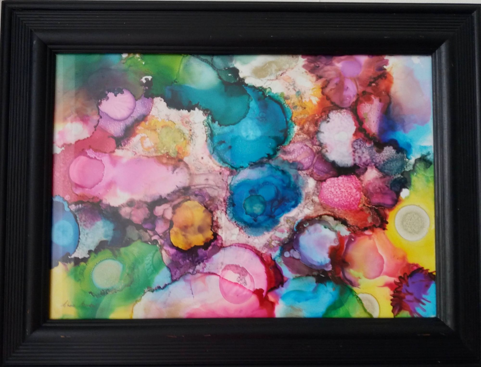 Burst of Colour  ________________________________ ink on Yupo paper, black frame  (38cm x 29cm)           £20