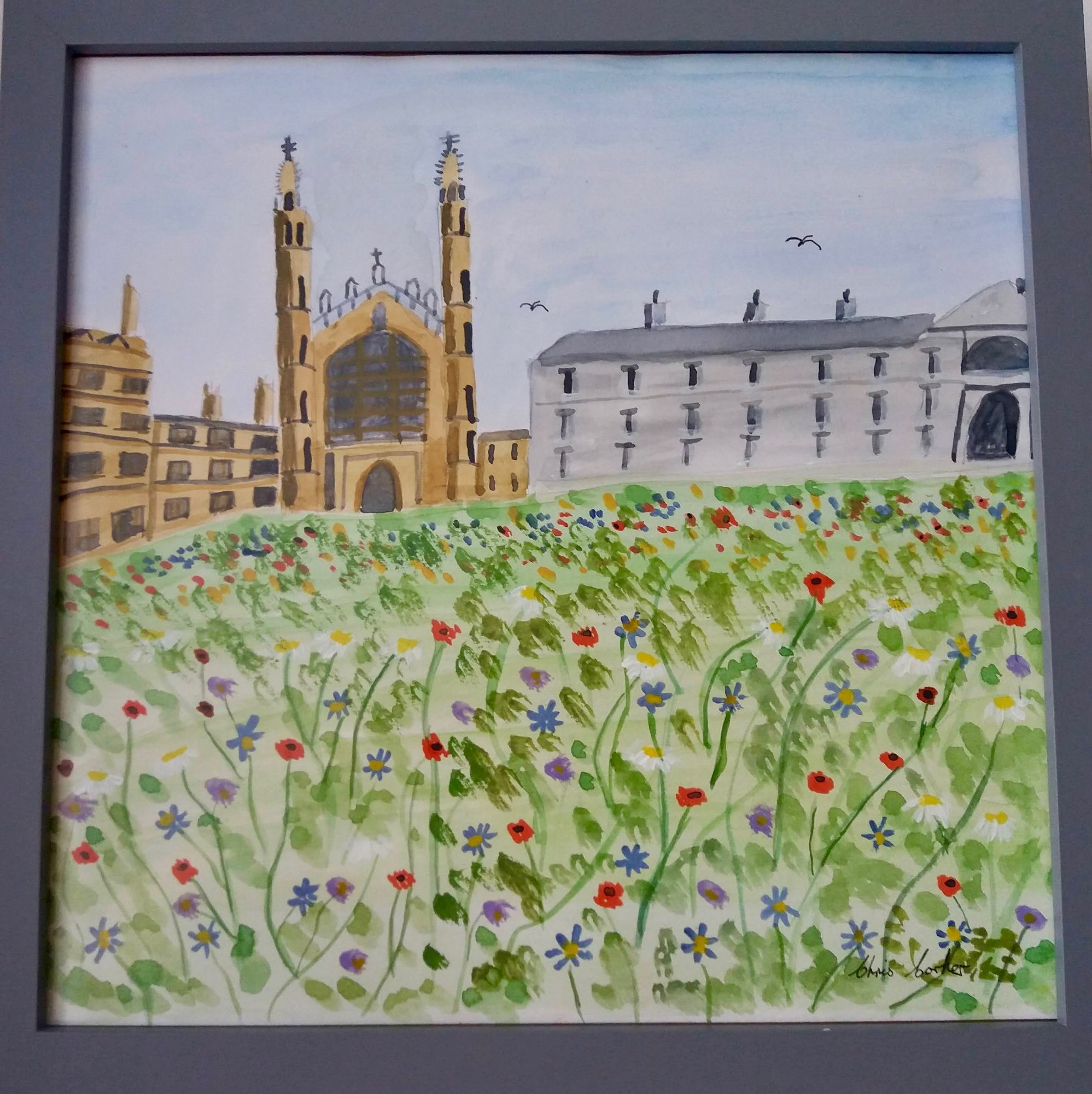 King's College Wildflower Meadow ________________________________ watercolour, grey frame  (34cm x 34cm)           £25