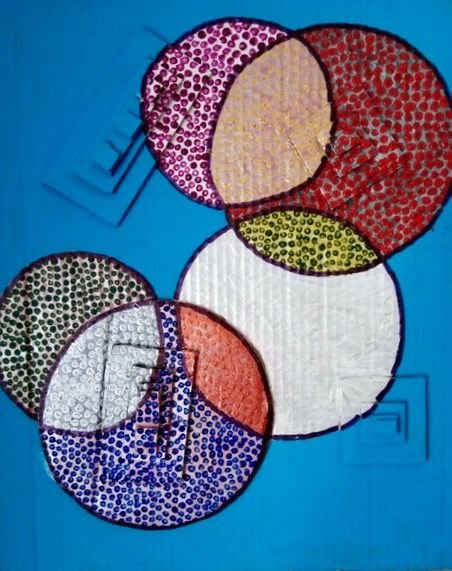 Circles in 3D   ________________________________ acrylic on cardboard  (50cm x 45cm)          NFS