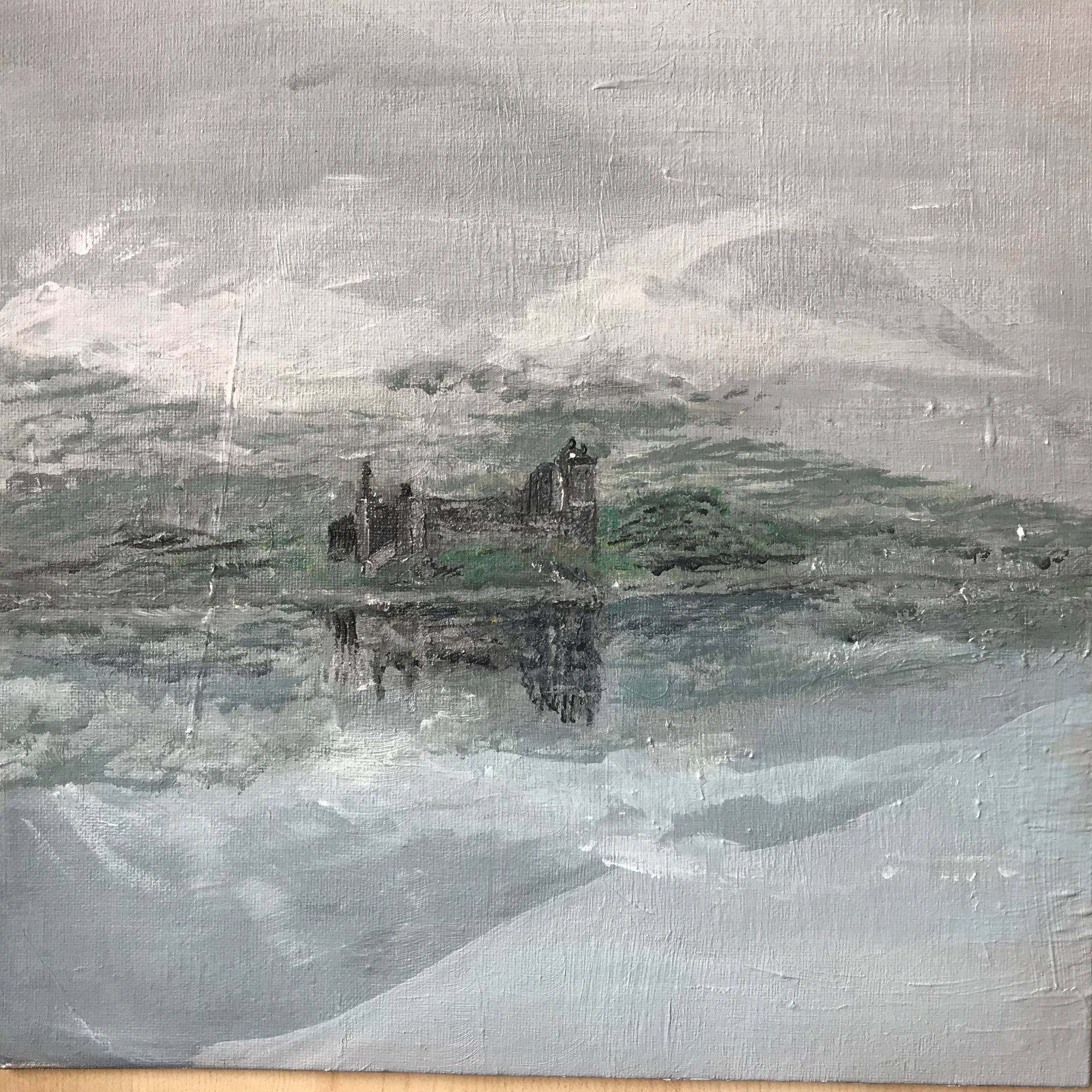 Castle in the Mist   ________________________________ acrylic on board  (34cm x 34cm x 0.5cm)           £40