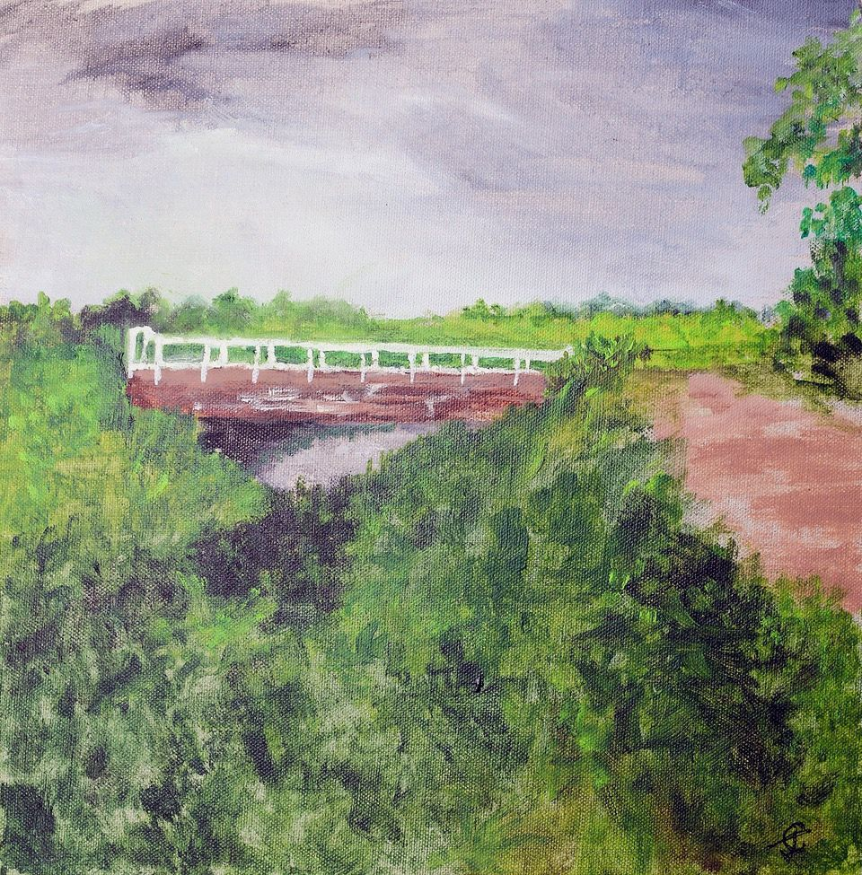 Cut Bridge, Rampton   ________________________________ acrylic, unframed  (30cm x 30cm)           £40