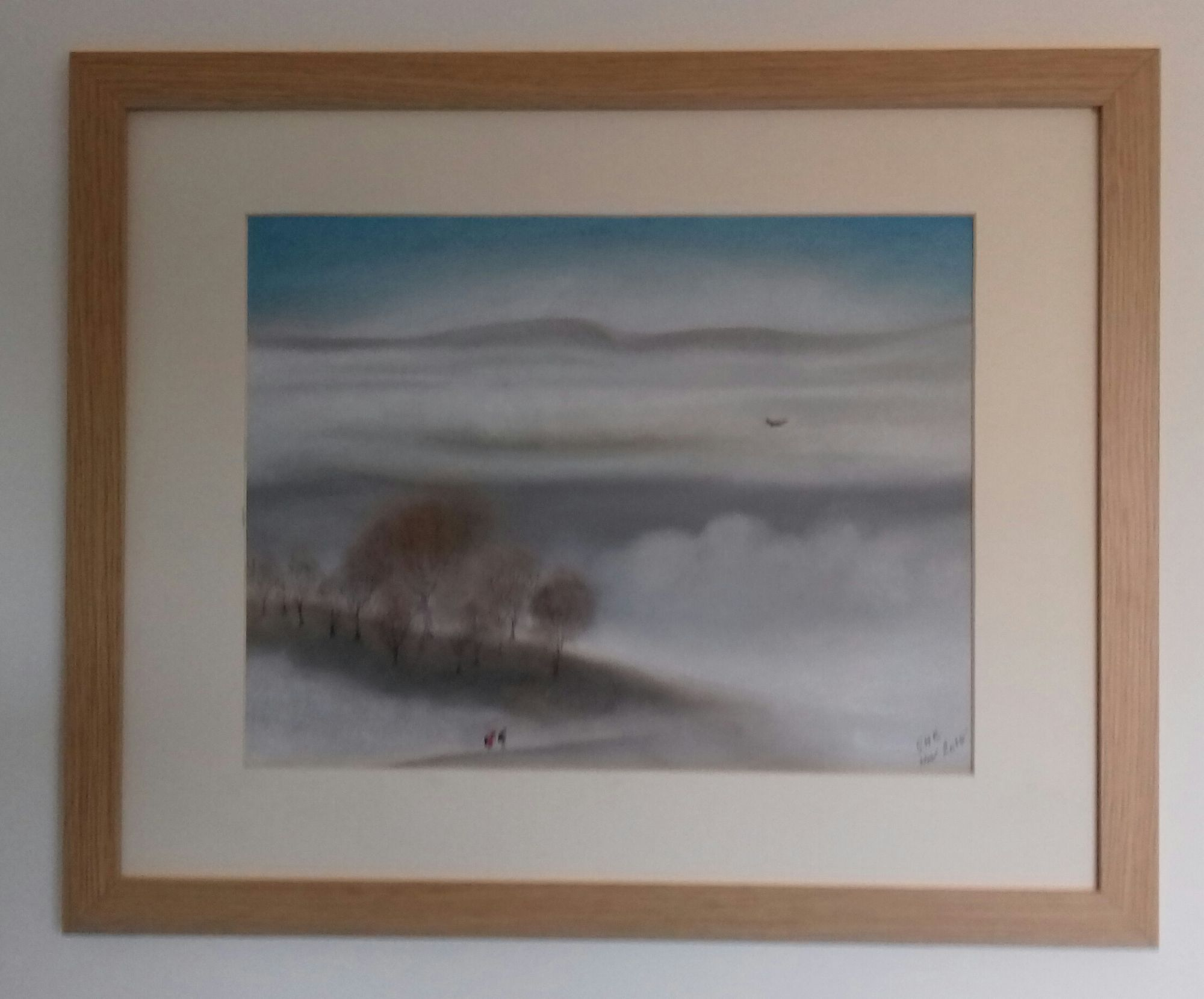 Misty Morning   ________________________________ soft pastel on Daler Murano coloured paper, wooden frame glazed with acrylic polmer  (56cm x 46cm, unframed)           £30