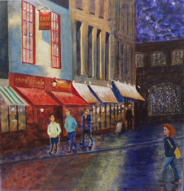 Night Life  ________________________________ Limited edition stretched canvas print of original oil painting  (40cm x 40cm)           £50