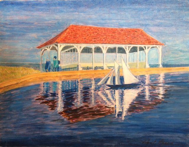 Sheringham Saturday   ________________________________ oils on  canvas board, medium grey wooden frame  (42cm x 52cm)           £100