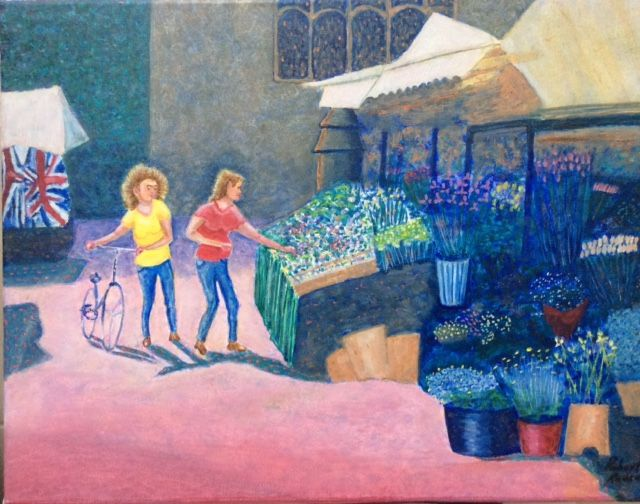 The Flower Stall   ________________________________ oils on  stretched canvas  (36cm x 45cm)           £90