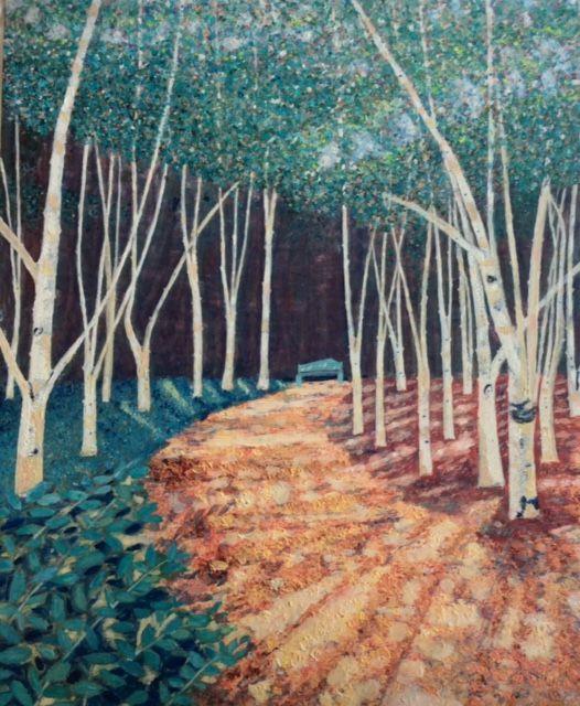 The White Wood  ________________________________ Oil on canvas board, medium grey wooden frame (67cm x 57cm)           £120