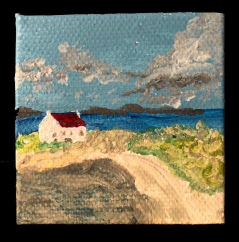 Barra Cottage   ________________________________ acrylic on miniature stretched canvas  (5cm x 5cm x 1cm)           £15