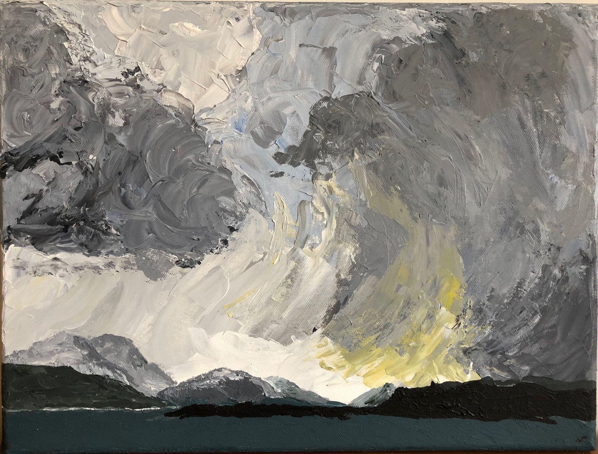 Stormy Sound  ________________________________ acrylic on stretched canvas  (30cm x 40cm)           £45