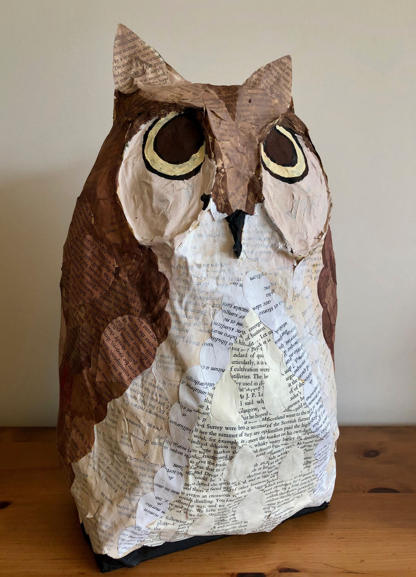 Wise Old Owl ________________________________ papier mache using paper from academic text books (36cm x 22cm x 15cm)           £25