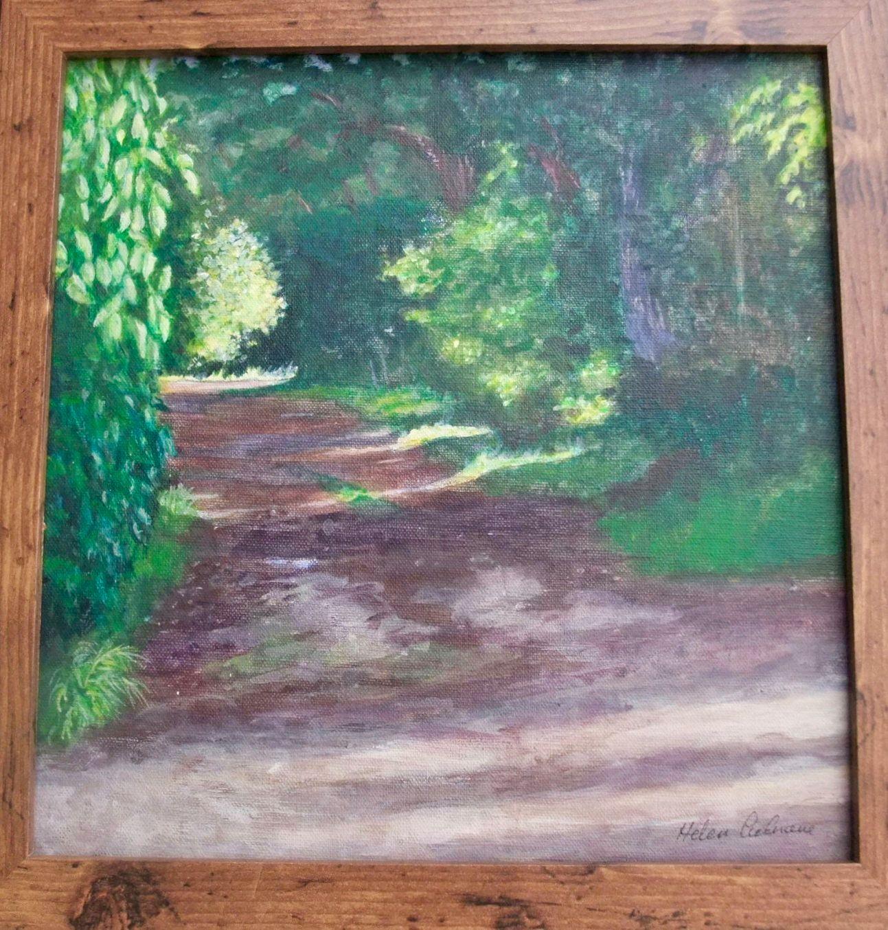 Mustill's Lane  ________________________________ acrylic on canvas board,  glazed wooden frame  (34cm x 34cm)           £35