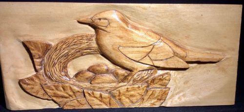 RA2 Dickens, Ron Blackbird on nest (relief carving on lime)