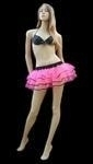 Pink Net Mini Tutu Edged In Black Satin Trim
