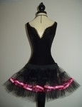 P6    Black Net Ultra Mini Tutu - Pink Ribbon Trim