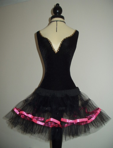 M8 Black Net Ultra Mini Tutu - Pink Ribbon Trim