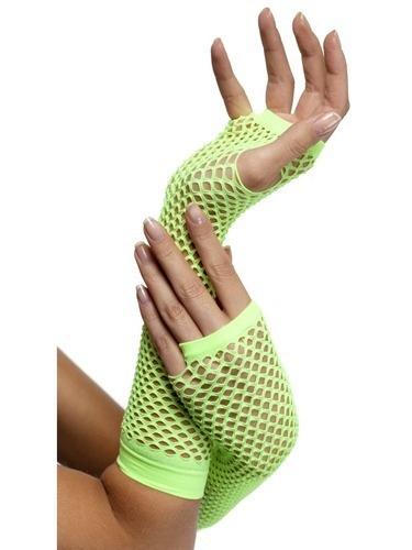 Long Neon Green Fishnet Gloves