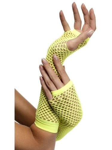 Long Neon Yellow Fishnet Gloves