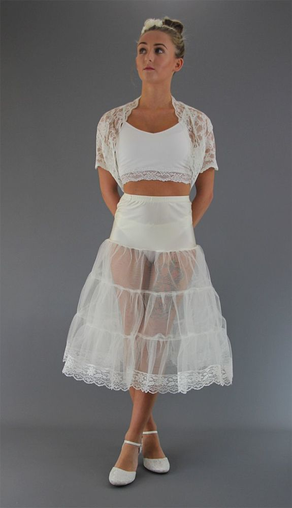 Ivory-Tiered-Petticoat-Lace Edge