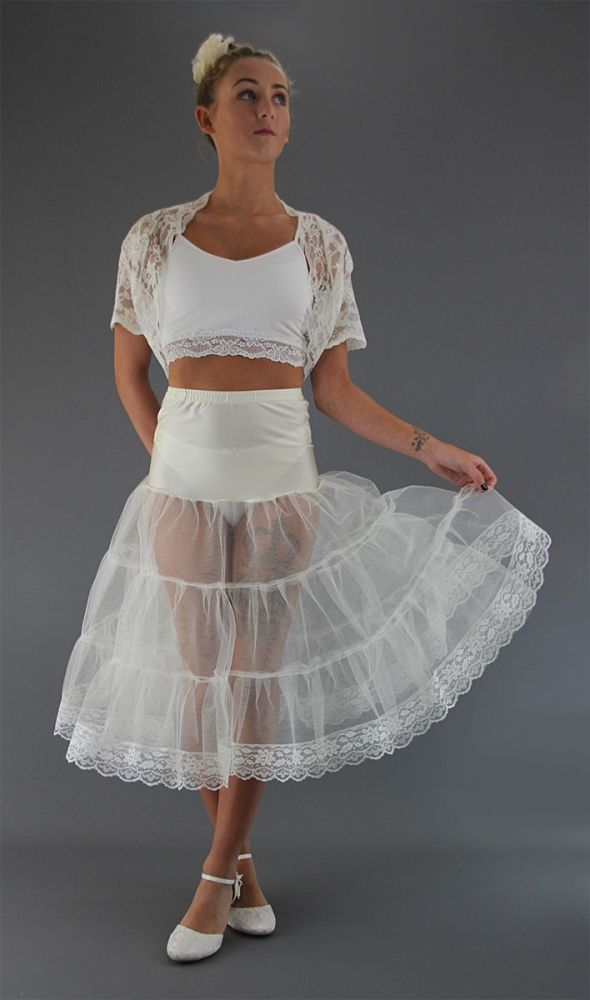 Ivory-Tiered-Petticoat-Edged With Lace