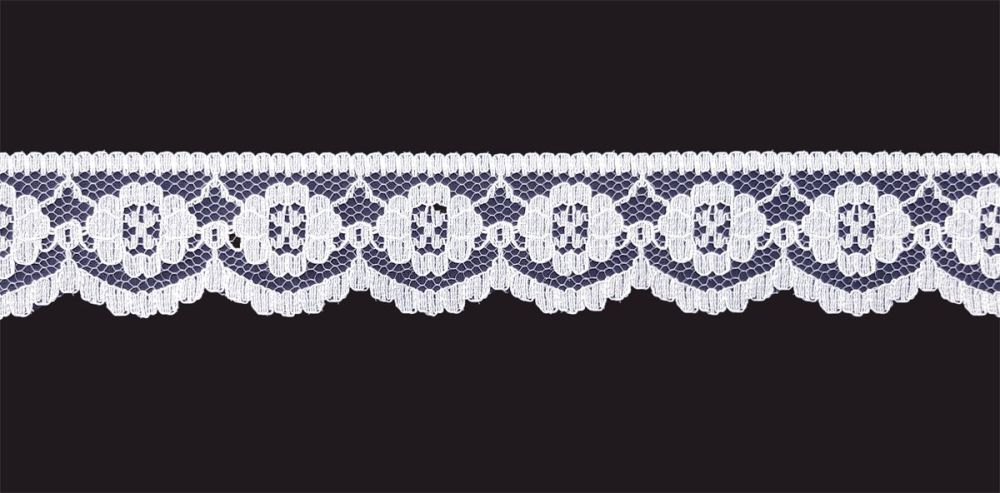 <!-- 011 -->Flat White Lace Trim - 1 Inch