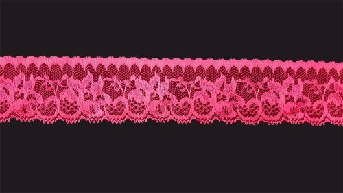 <!-- 015 --> Flat Fluorescent Pink Lace Trim - 1.75 Inch