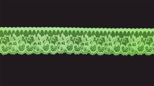 <!-- 016 --> Flat Fluorescent Green Lace Trim - 1.75 Inch