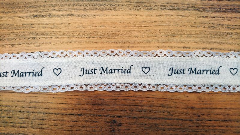 <!-- 001 -->Just Married Luxury Ribbon Edged In Lace
