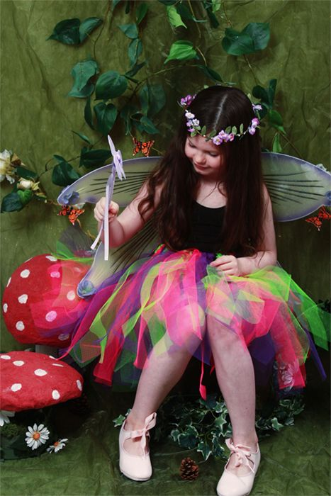 <!-- 001 -->Childrens Shorter Length Multi-Coloured Raggy Fairy Skirt