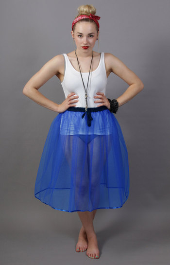 A5 Royal Blue Net Underskirt Edged With Satin