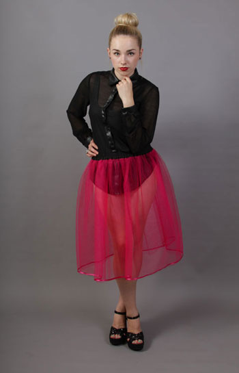 Cerise Net Underskirt Edged With Satin