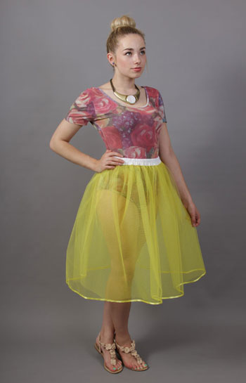 Primrose Yellow Net Petticoat Edged With Satin