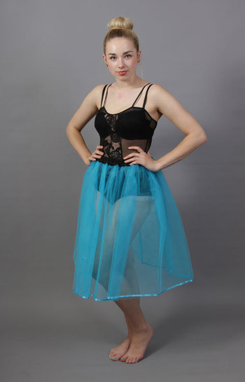 Turquoise Net Underskirt Edged With Satin