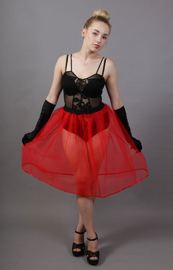 Red Net Underskirt Edged With Satin