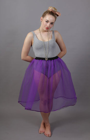 Purple Net Underskirt Edged With Satin