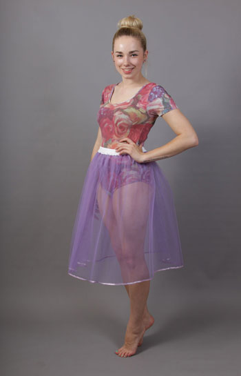 Lilac Net Underskirt Edged With Satin