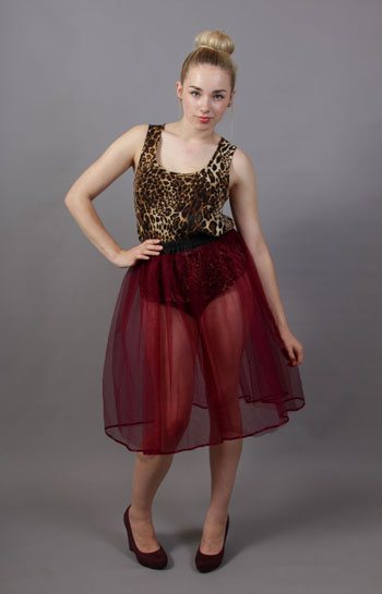 Wine Net Underskirt Edged With Satin