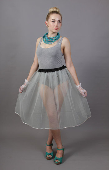 Silver Grey Net Underskirt Edged With Satin