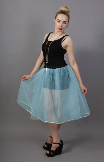 Pale Powder Blue Net Underskirt Edged With Satin