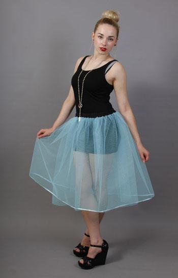 Pale Powder Blue Net Underskirt Edged With Satin