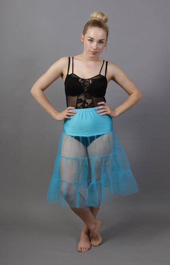 C8 Turquoise Tiered Net Underskirt