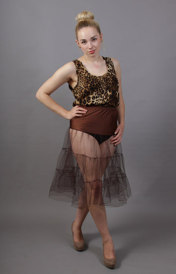 C71 Coffee Brown Tiered Net Underskirt