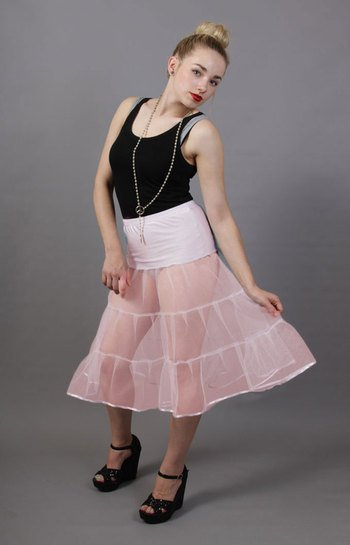 D3 Baby Pink Tiered Net Underskirt Edged With Satin