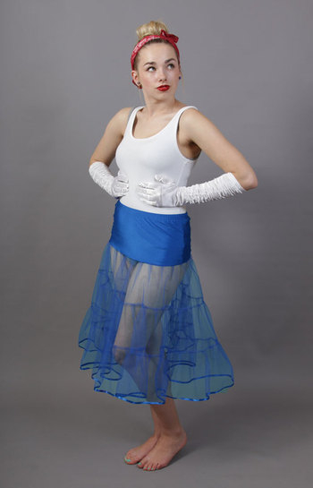 D5 Royal Blue Tiered Net Underskirt Edged With Satin