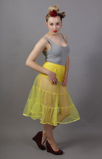 D7 Primrose Yellow Tiered Net Underskirt Edged With Satin