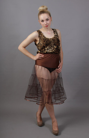 D71 Coffee Brown Tiered Net Underskirt Edged With Satin
