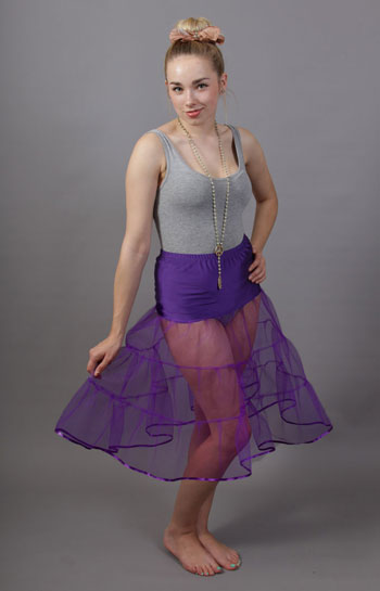 D91 Purple Tiered Net Underskirt Edged With Satin