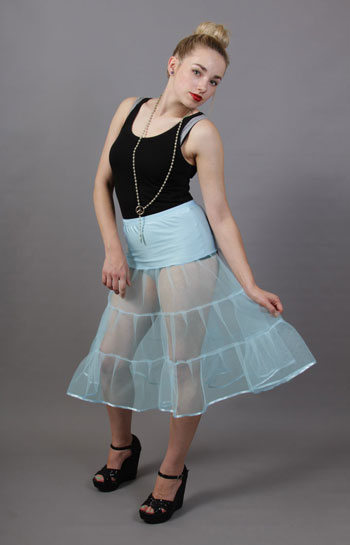 D96 Pale Powder Blue Tiered Net Underskirt Edged With Satin