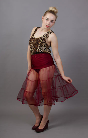 D94 Wine Tiered Net Underskirt Edged With Satin