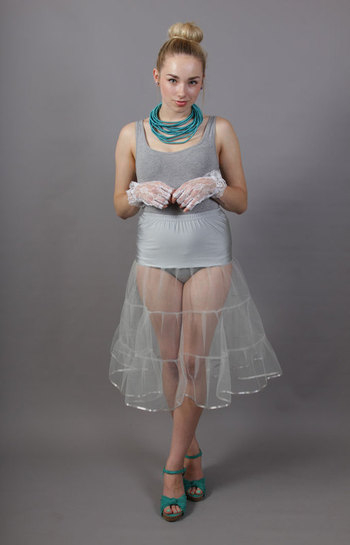 D95 Silver Grey Tiered Net Underskirt Edged With Satin