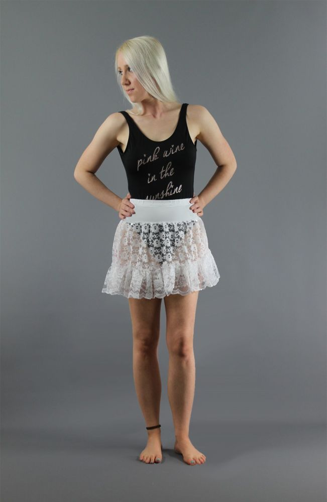 White-Mini-Lace-Skirt